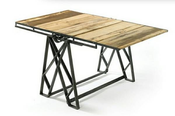 Beautiful Reclaimed Wood Living Room Convertible Dining Table/ 5 Tier Shelf