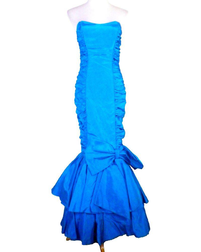 Vintage 80s Nadine sequin Prom dress black white fish tail mermaid wiggle formal
