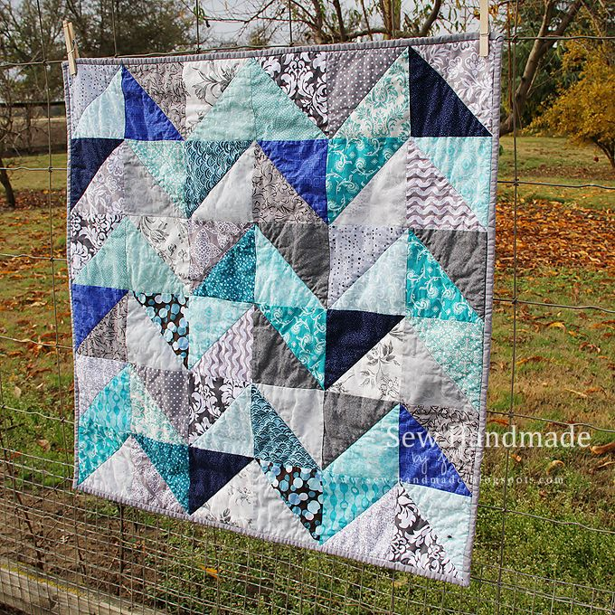 Blue And Gray Quilt Made With Half Square Triangles Sew Handmade By Jodie Www Sew Handmade Blogspot Com Blue Grey Chevron Quilts Chevron Quilt