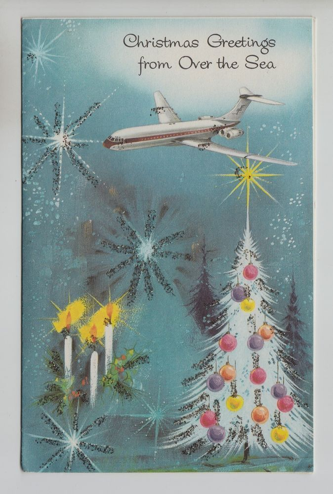Vintage Airplane Flying over Glittered Christmas Tree Greeting Card ...