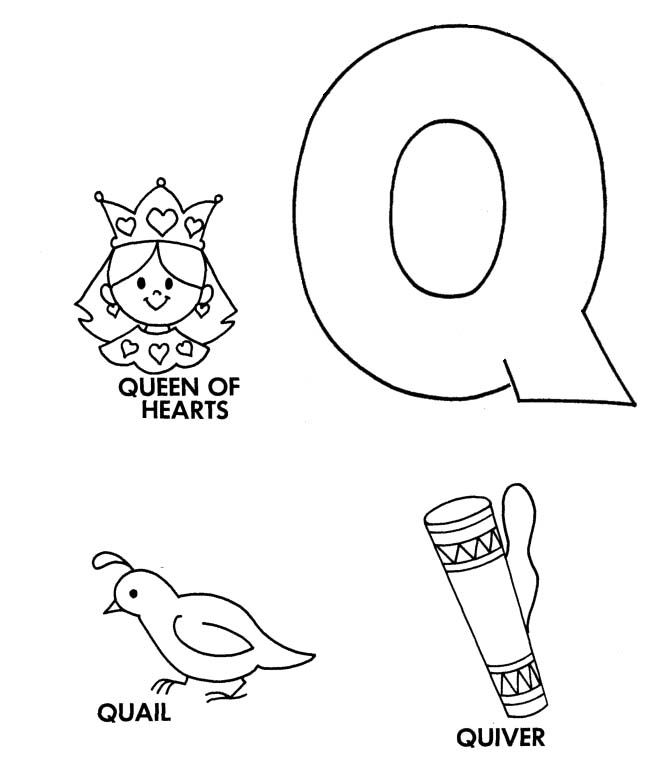 Q For Queen Of Heart Coloring Pages | Alphabet coloring ...