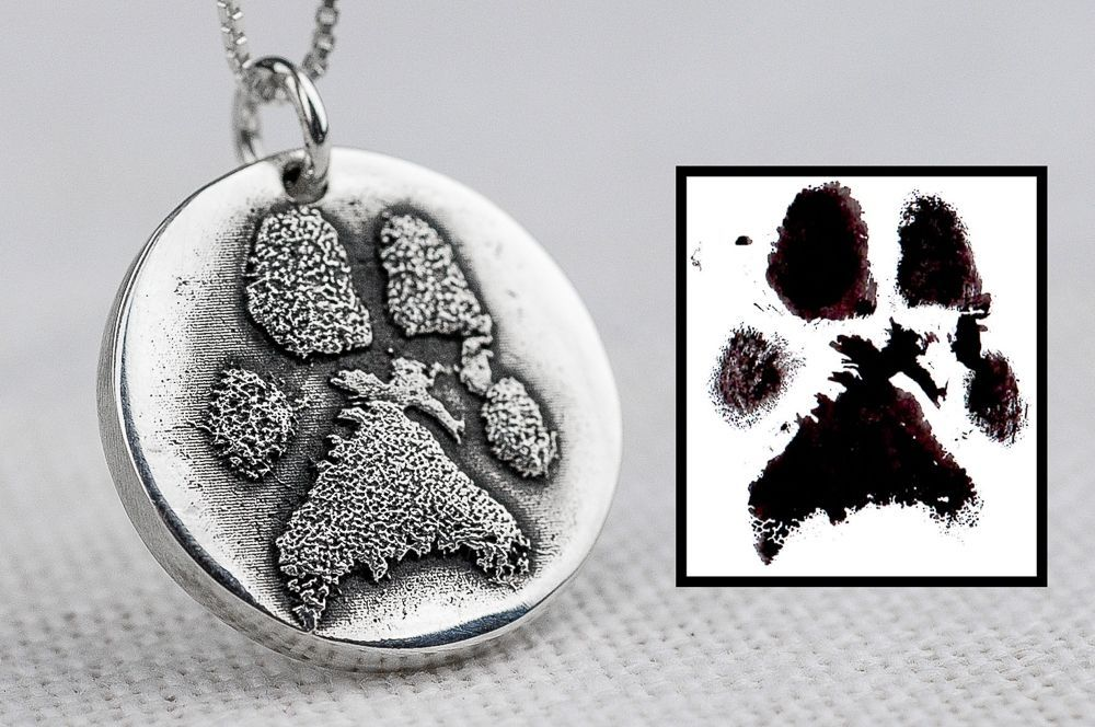 Custom made dog paw necklace made from ink print snazzy custom made dog paw necklace made from ink print aloadofball Images