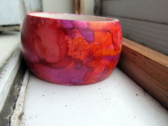 Fruit Punch - Handpainted Wooden Bangle, fun bold colours for summer !