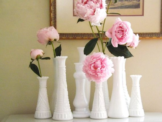 Vintage Milk Glass Vases Group Of 10wedding Table Vasesreception
