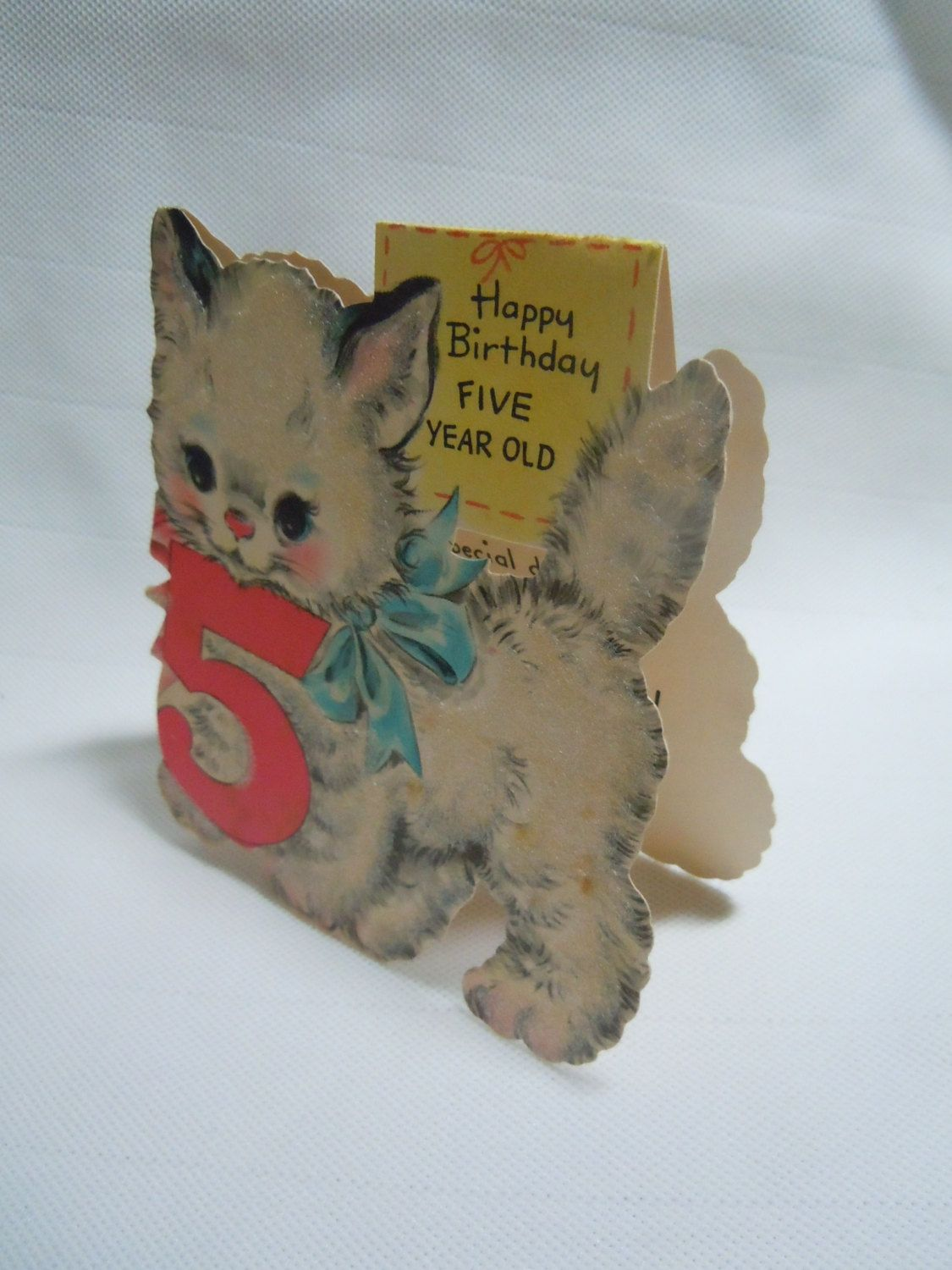 Vintage Flocked Birthday Greeting Card W Cat 1940s Die Cut Stand Up