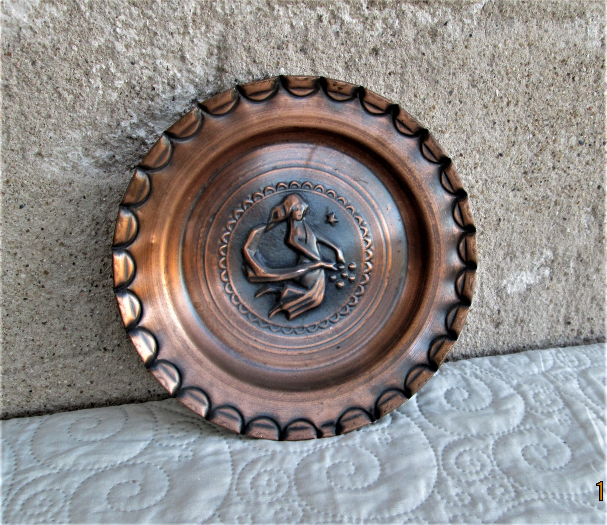 Vintage copper plate decorative plates metal wall art copper