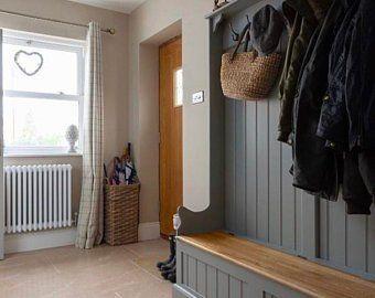 Photo of Items similar to SALE Old wooden door hall tree – repurposed door – entryway bench – entryway storage bench – coat rack – distressed bench – mud room storage on Etsy
