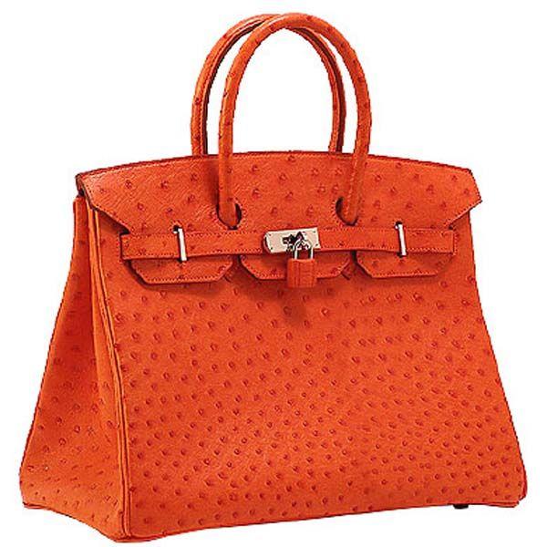 Sac Hermès Birkin 35 Orange Autruche Argent materiel   Hermès ... fb22acaea15