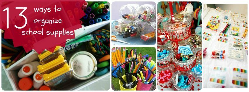 13 diy ways to organize school supplies diy organizing for Ways to organize craft supplies