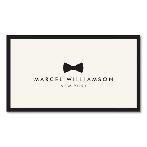 MenS Classic Bow Tie Logo BlackIvory Business Card Template