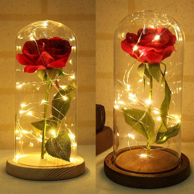 Artificial Red Rose Led Lighting | Beauty and the beast