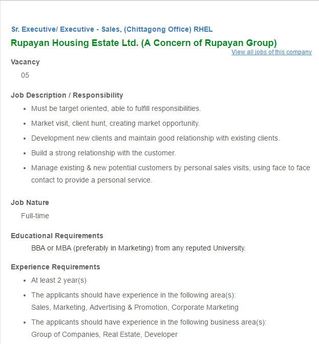 Rupayan Housing Estate Ltd Sr Executive Executive Sales Job