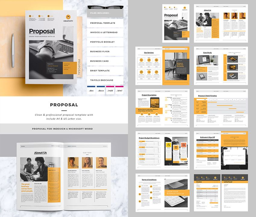 Clean Business Project Proposal Template Layouts Pinterest