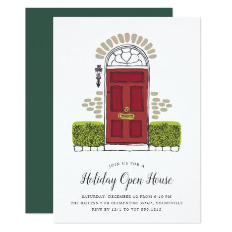 Red Door Holiday Open House Invitation in 2018 Christmas Greeting