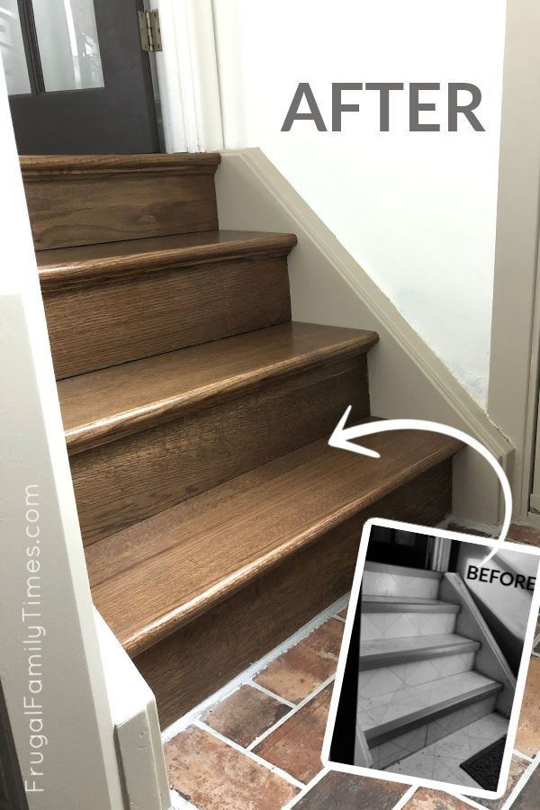 Best Diy Stairs Makeover How To Install Hardwood Treads Risers Over Old Steps Treads Risers 400 x 300