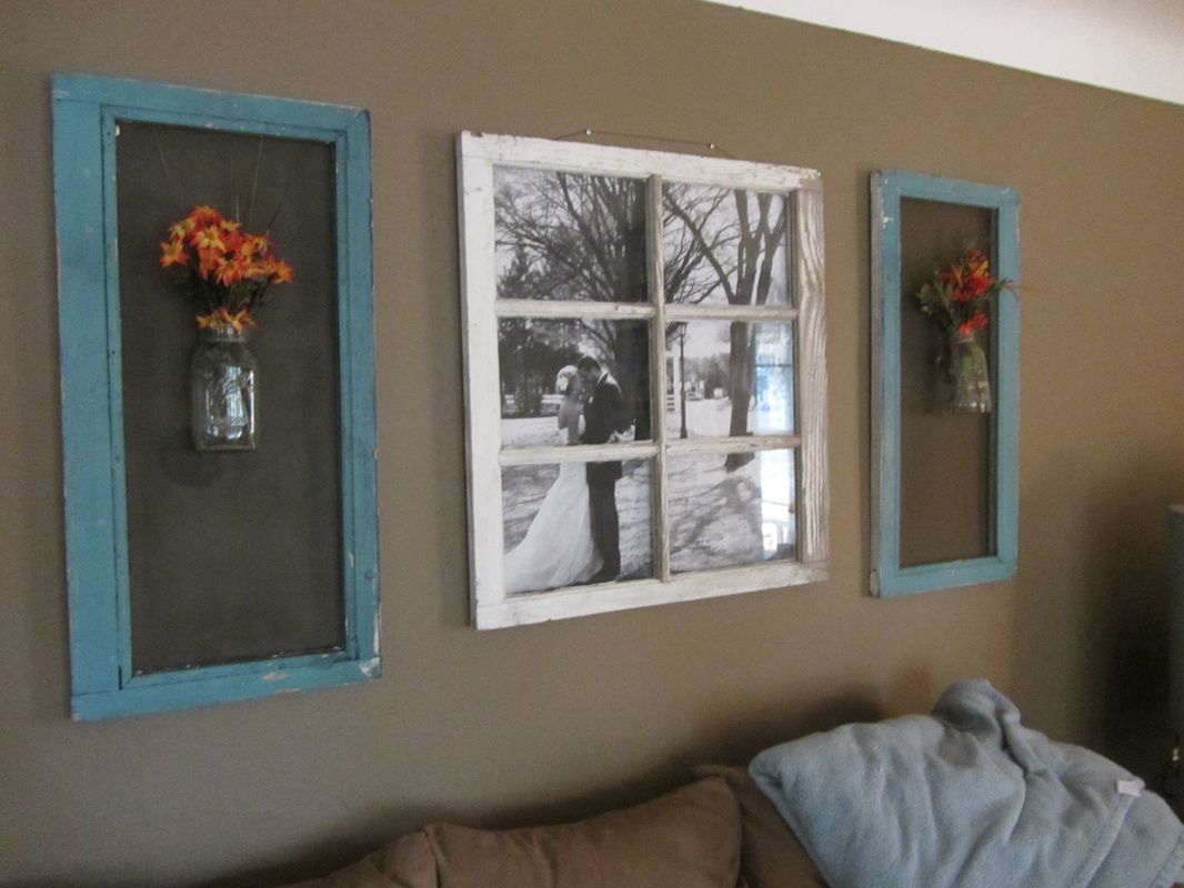 Rustic Window Pane Used As Frame For Wedding Photos Or One Picture