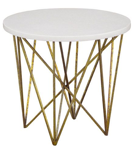 "george round side table metal base w/ resin or shell top dimensions: base: top: shown in: 24"" diameter x 21""H"