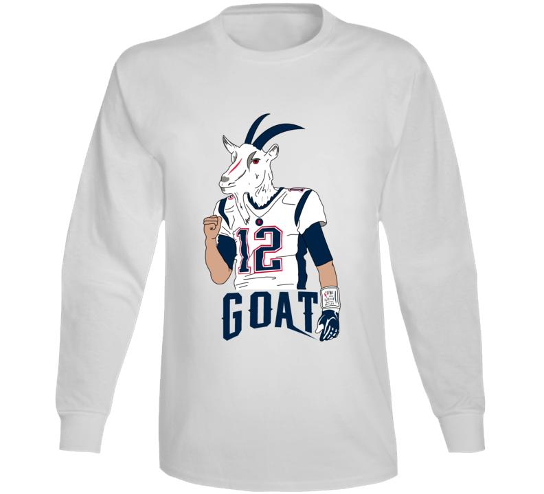 Tom Brady Goat Head Cartoon Cool Funny Fan Long Sleeve Shirt Long Sleeve Shirts Tom Brady Goat Sleeves
