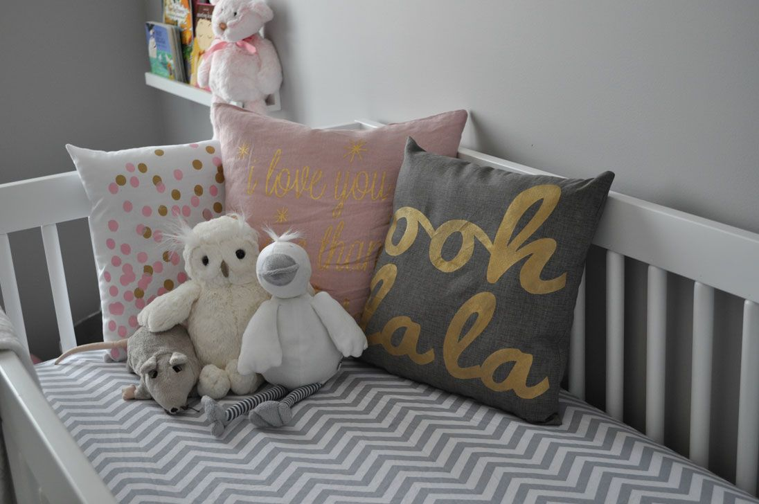 Pretty pink gold and grey nursery baby girl room pinterest