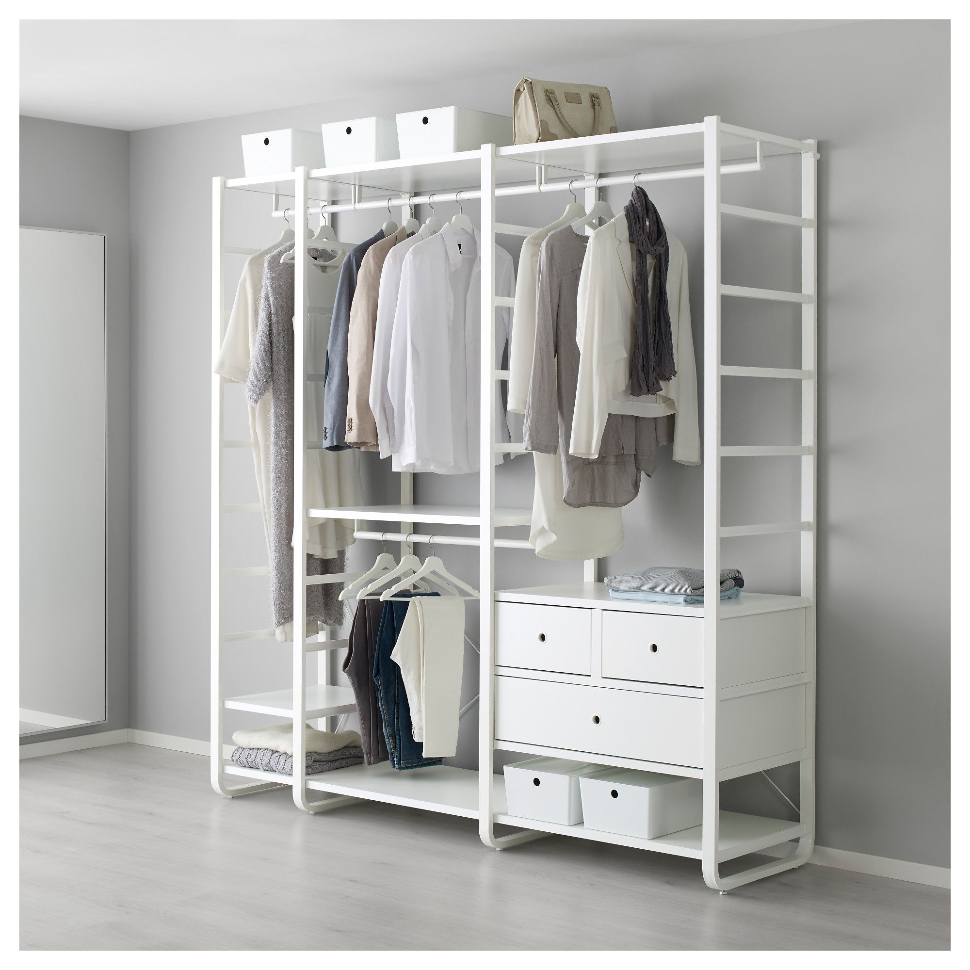 elvarli 3 sections white organization inspiration pinterest schrank kleiderschrank and. Black Bedroom Furniture Sets. Home Design Ideas