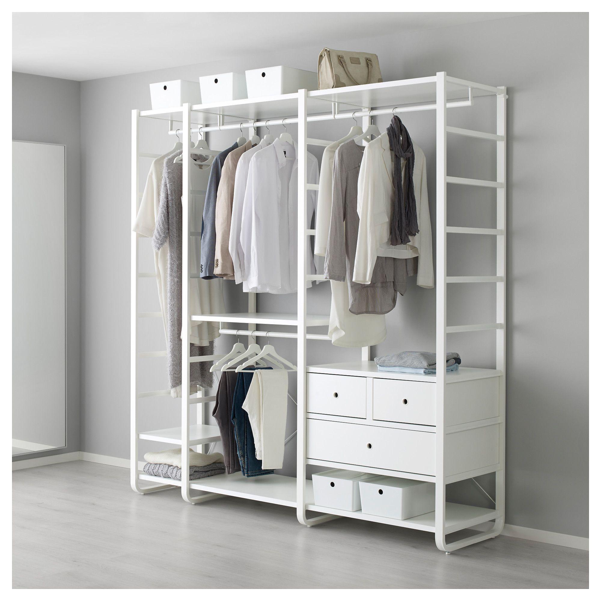 ELVARLI 3 sections White IKEA   Open wardrobe, Ikea, Shelves