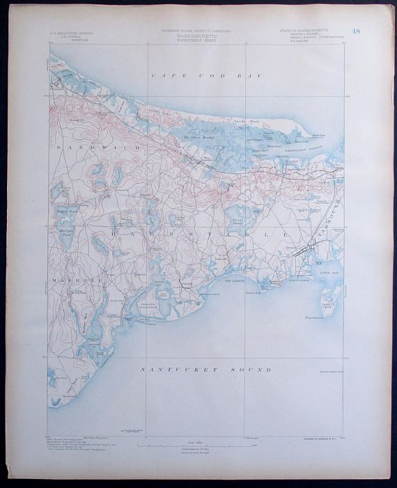 1890 Barnstable Cape Cod Mashpee Sandwich Sandy Neck Yarmouth - Cape-cod-on-us-map