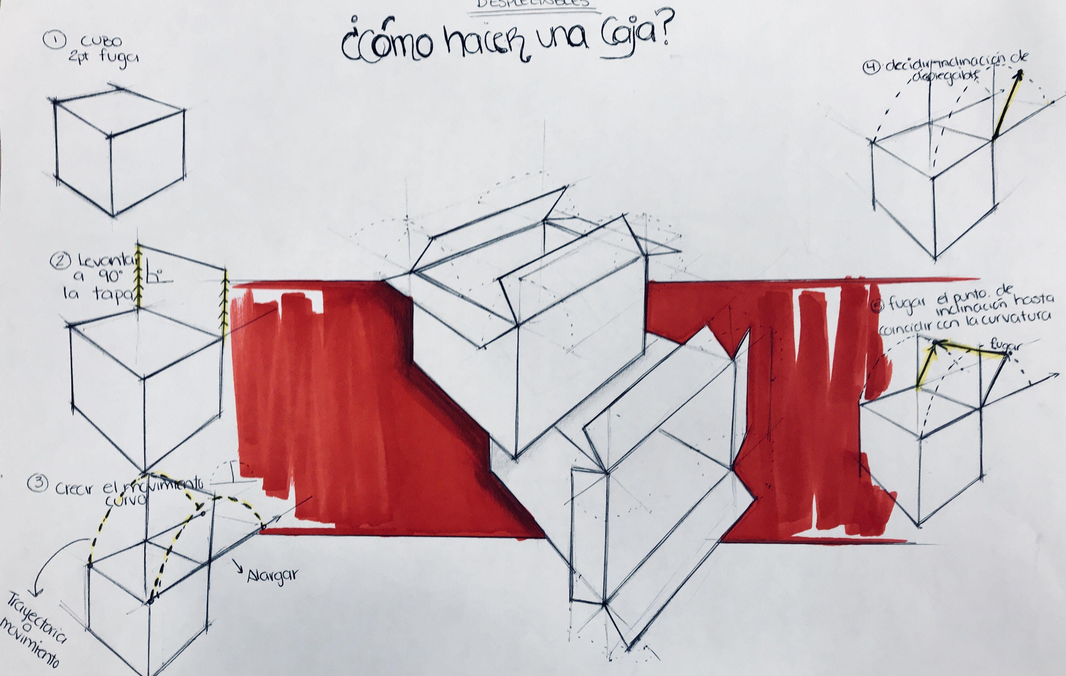 Desplegables Como Hacer Una Caja 1 Hacer Cubo A 2 Puntos De Fuga 2 Levantar Tapa A 90 Grados 3 Marca 3 Puntos De Fuga Como Hacer Una Caja Disenos De Unas