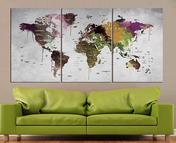 World Map Black And White Wall Art World Map Canvas Print Abstract