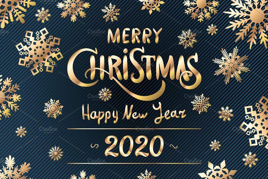 Merry Christmas Happy New Year 2020 Spanduk Gambar Aplikasi