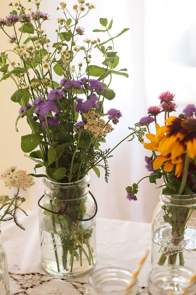 Table Centerpieces Can Have Any Colors Of Wildflowers Sheila