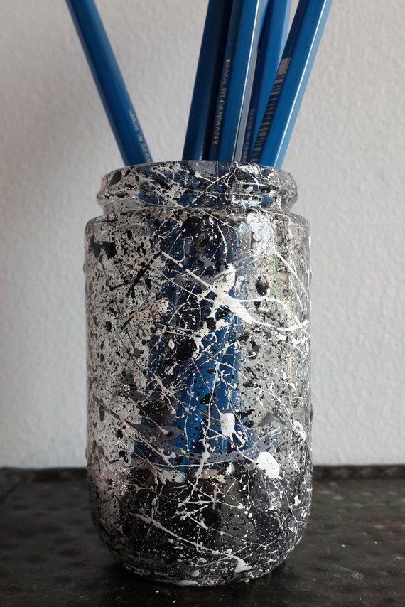 Hand Painted Artist Pencil Holder, Monochrome Pencil Pot