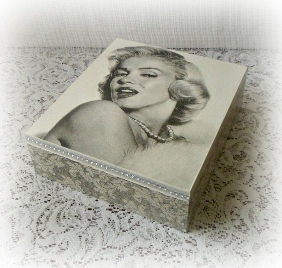 Wooden jewelry box tea box decoupage box Marilyn Monroe box