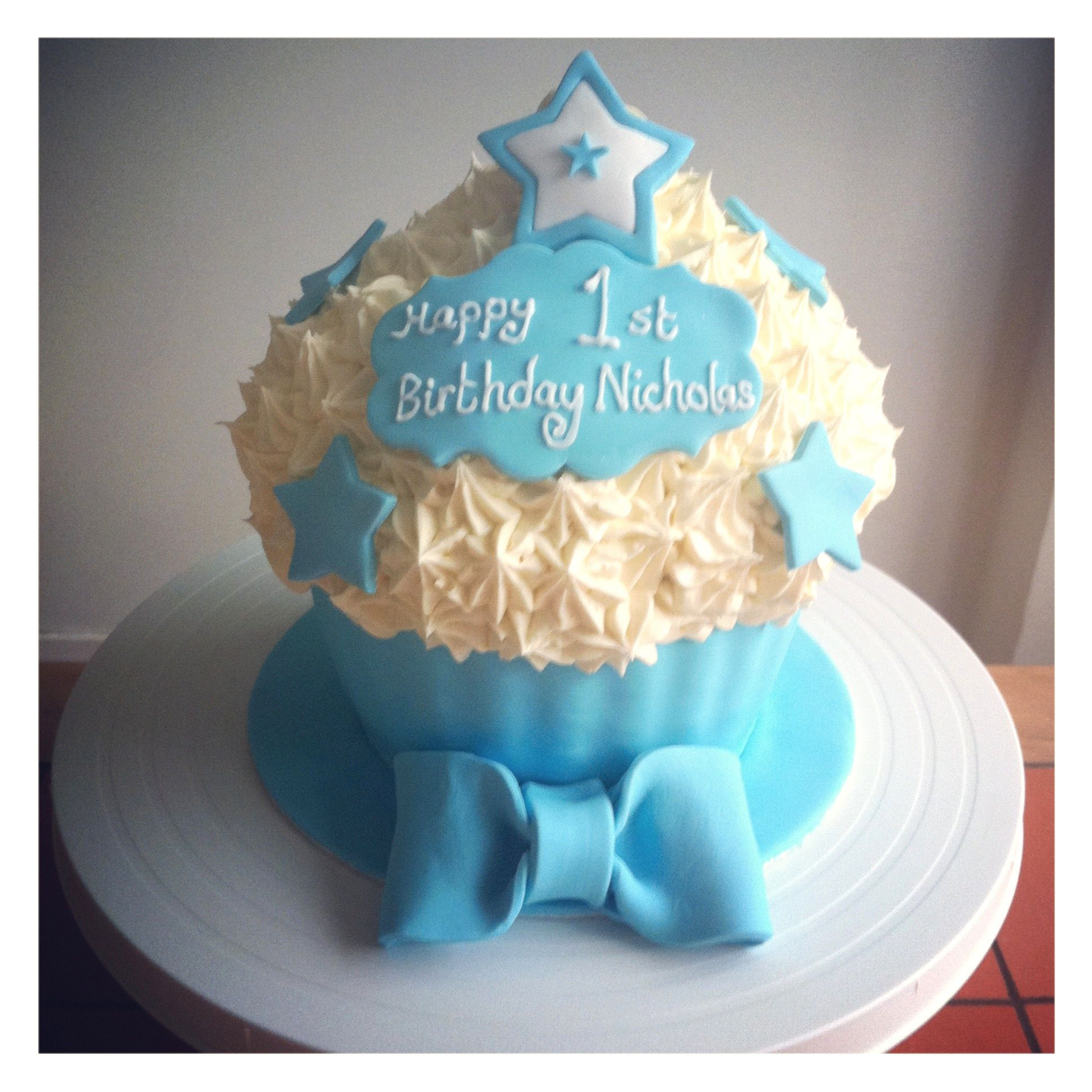 Baby Boys 1st Birthday Cupcake With Images Giant Cupcake Cakes