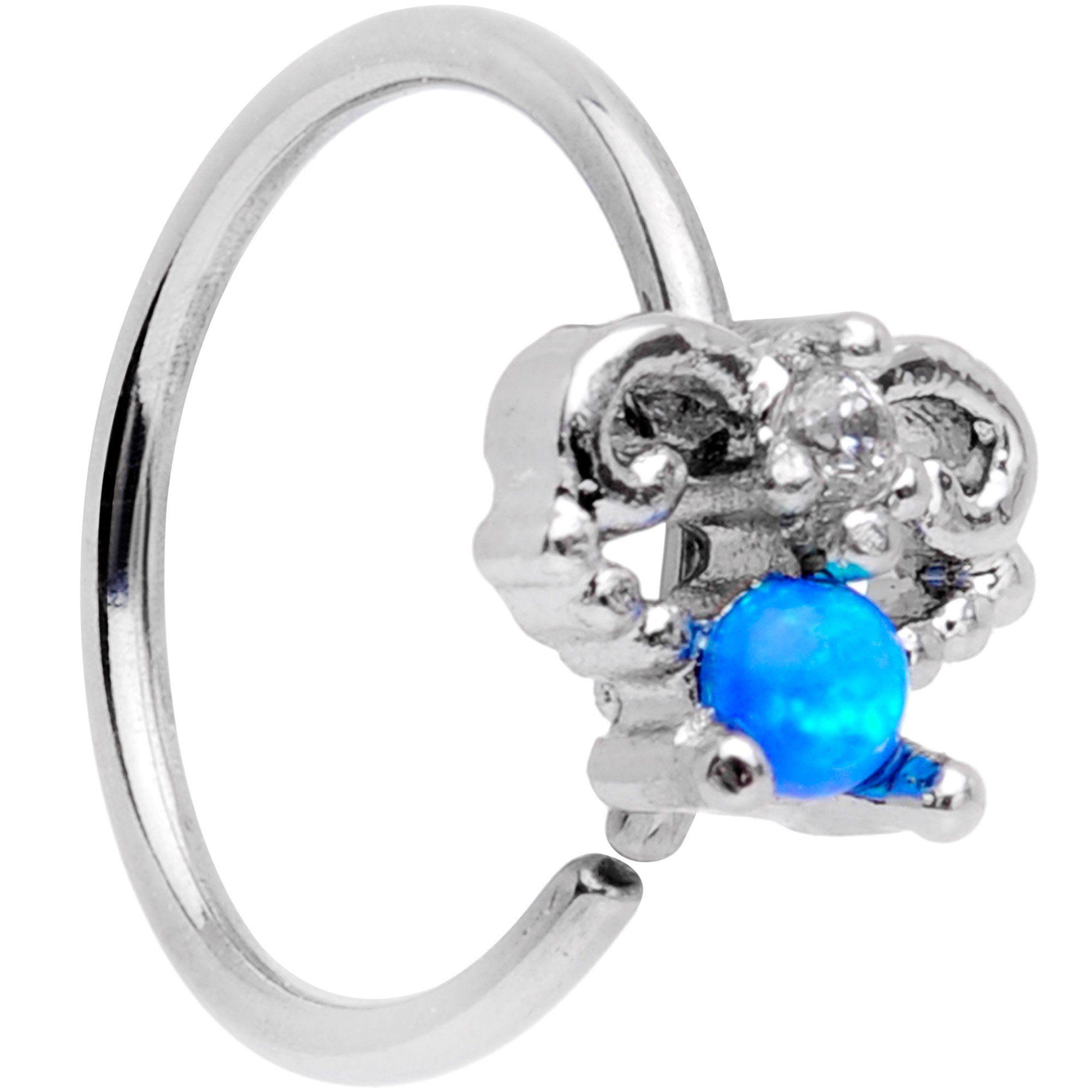 20 Gauge 5/16 Blue Synthetic Opal Fashion Seamless Circular Ring