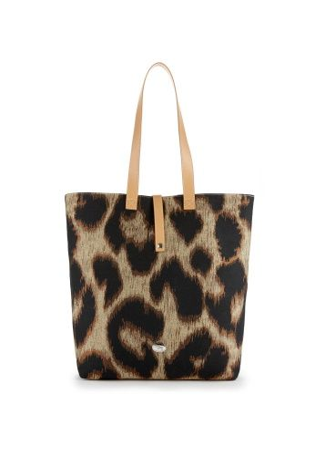 99b8fae74cf Vibrantly woven with copper thread to create the metallic leopard design,  this shopper features leather elements to the handles and ...