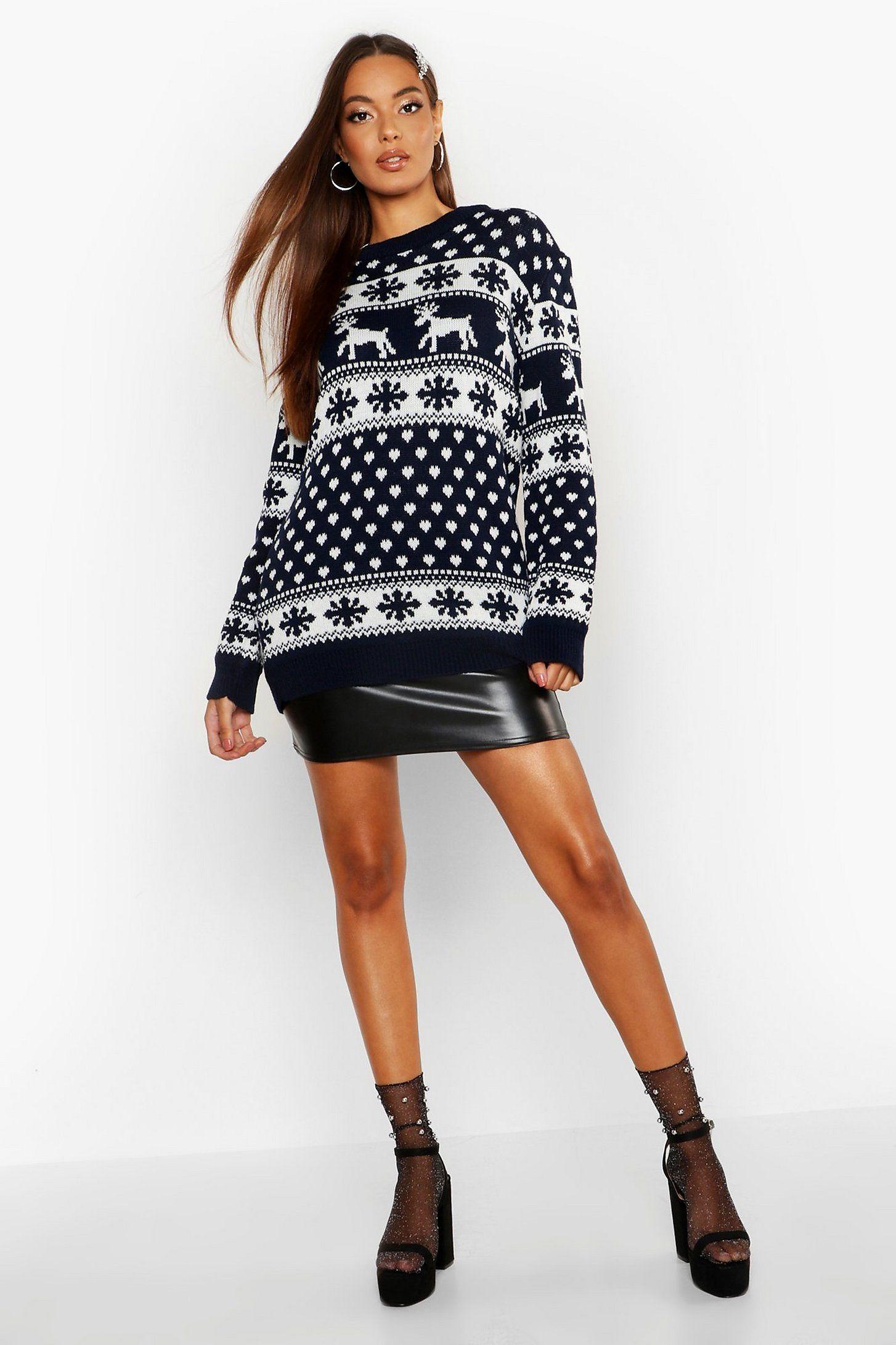 Reindeer & Snowflake Christmas Jumper Boohoo UK