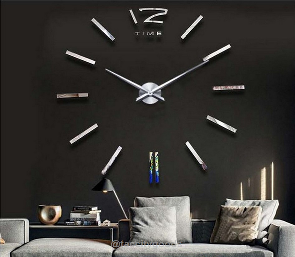 Modern 3d Big Mirror Wall Clock Diy Clock Wall Clock Wall Decor Wall Clock