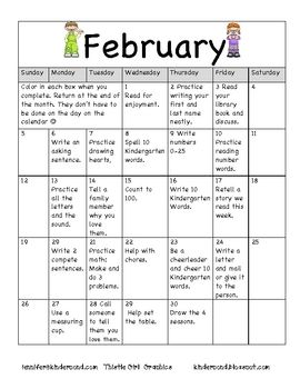 I Like This Idea  Fun Homework Ideas Each Day For The Month One
