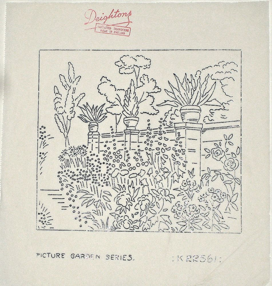 Vintage deighton embroidery transfer country garden border with