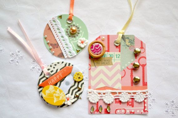 Embellished Tags Decorated Tags Scrapbooking by ArtistsCornerShop, $8.00