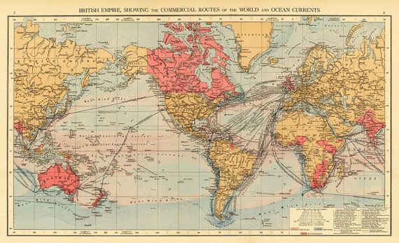 Archival map of the world british empire world map showing archival map of the world british empire world map showing commercial routes gumiabroncs Choice Image