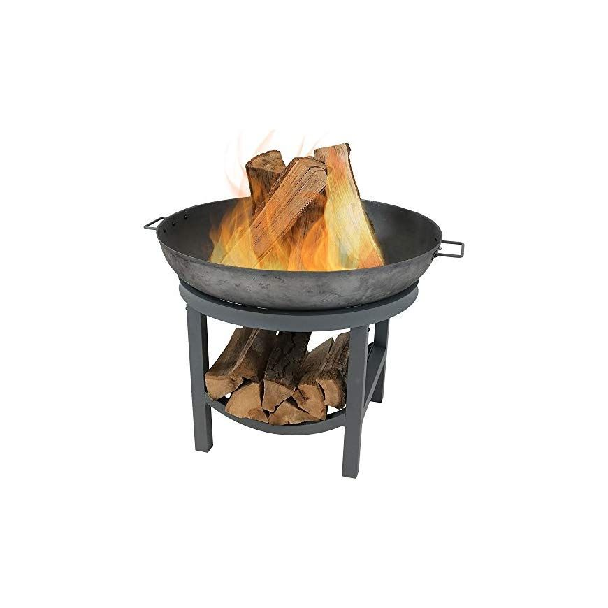 Sunnydaze Cast Iron Round Fire Pit Bowl With Built In Log Rack Outdoor Wood Burning Fireplace 30 Inch In 2020 Wood Burning Fire Pit Fire Pit Fire Pit Bowl