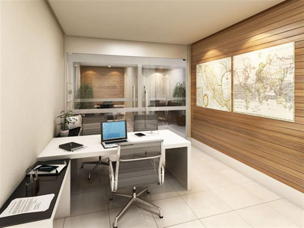 White Themed Cool Home Office Design with Contemporary White Wood