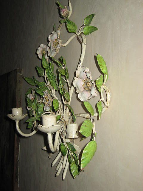 pink tole | Vintage Italian Tole Candle Wall Sconce w/Petal Pink/White Roses & Bow ...