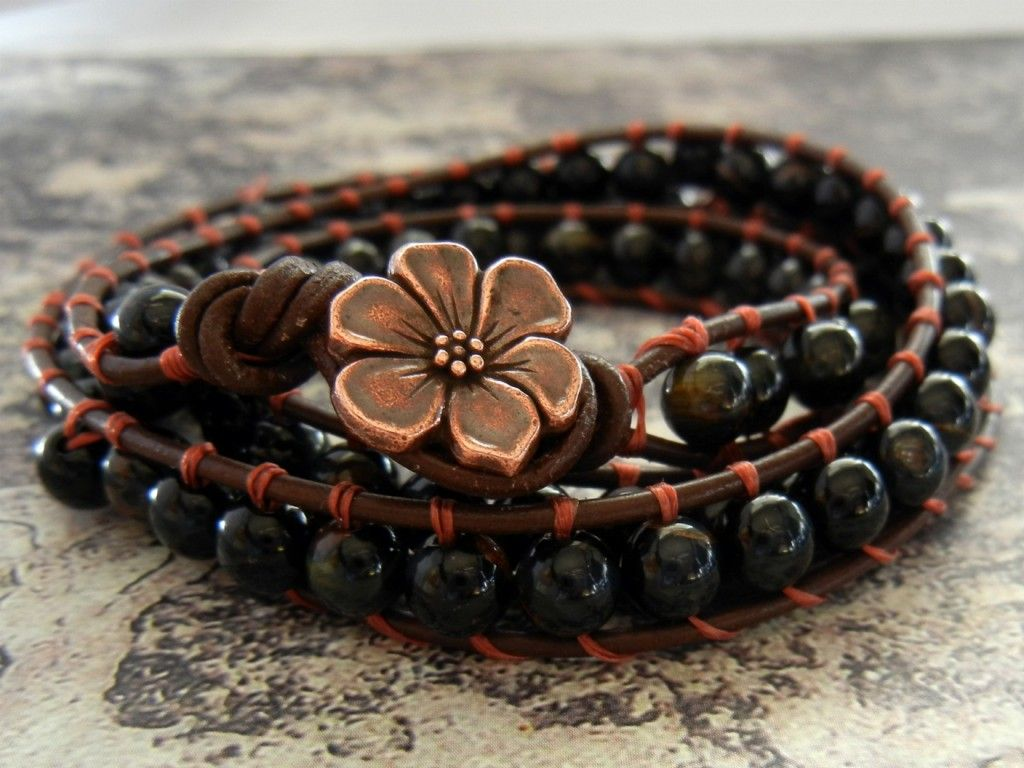 how to make your own wrapped leather bracelet... Looks pretty simple!!  Might have to try this!