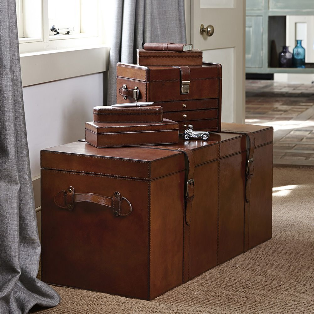 End of hallway storage ideas  Life of Riley leather collection of storage boxes  Life of Riley