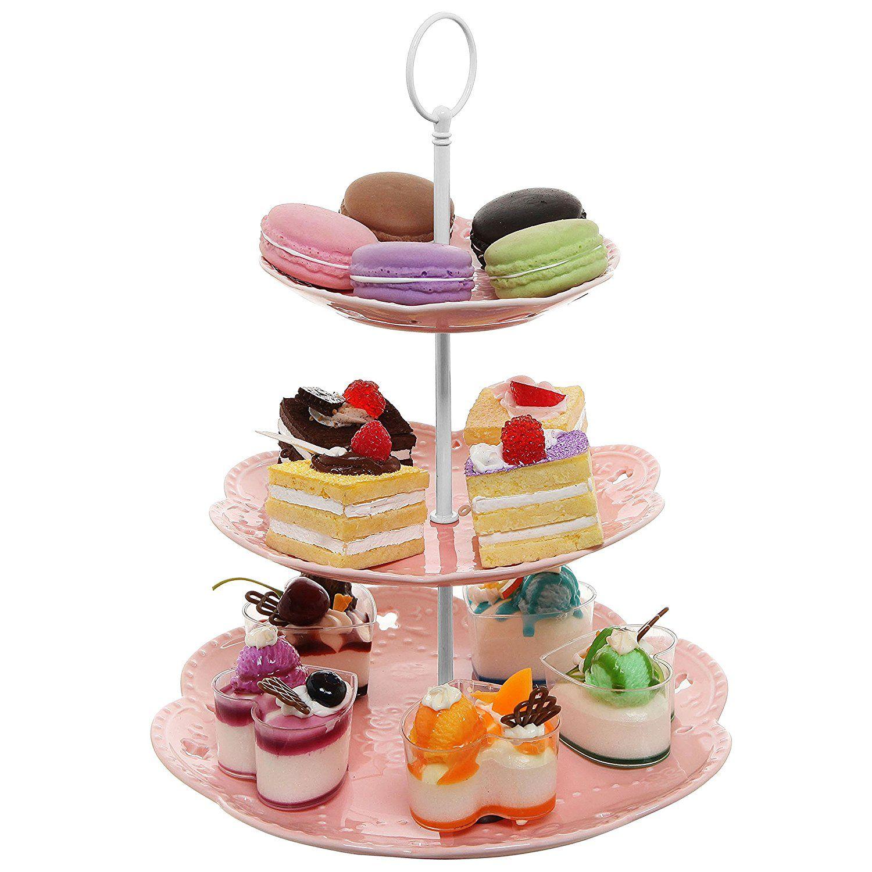 3 tier vintage floral pastel pink ceramic dessert cupcake