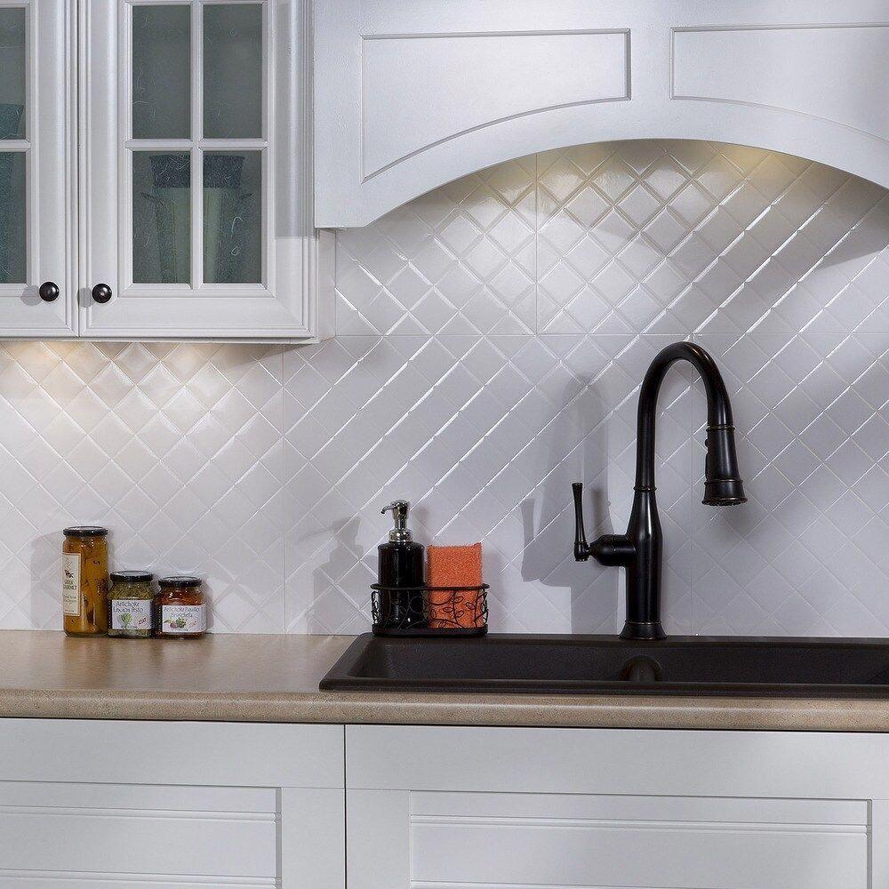 Fasade Quilted Gloss White 18 Square Foot Backsplash Kit Sample Plastic Kitchen Backsplash Panels White Tile Backsplash Kitchen Backsplash Designs