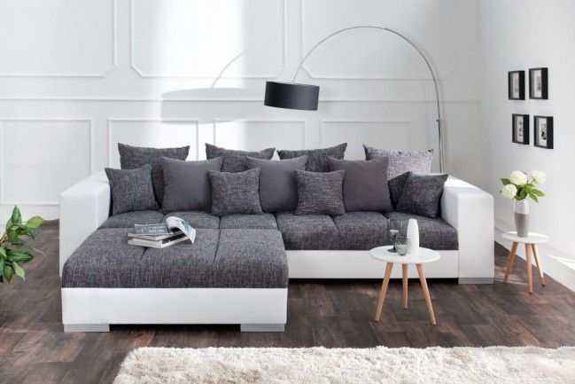 Design Xxl Sofa Big Sofa Island In Weiss Grau Charcoal