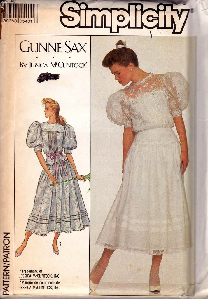1980s Simplicity 8610 Gunne Sax Womens Puff Sleeve Dress Pattern Size 12 Bust 34 Inches Uncut Factory Folded